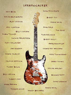 Eric Clapton Photograph - The Stratocaster Guitarists by Mark Rogan