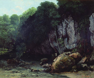 Cavern Painting - The Stream From The Black Cavern by Gustave Courbet