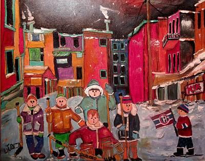 Painting - The Street Hockey Guys Posing by Michael Litvack