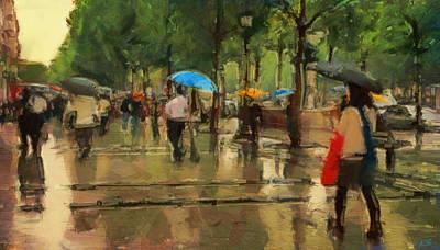 Asphalt Digital Art - The Streets Of Paris In The Rain by Sergey Lukashin