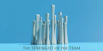 Corporative Art Digital Art - The Strenght Of The Team by Ignacio Leal Orozco