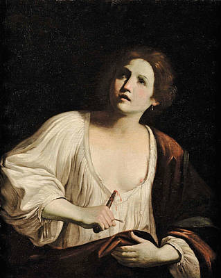 Guido Cagnacci Painting - The Suicide Of Lucretia by Attributed to Guido Cagnacci