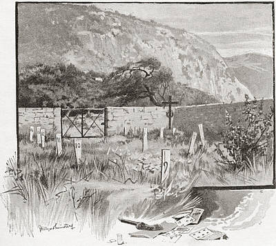 Enclosure Drawing - The Suicide S Cemetery, Monte Carlo by Vintage Design Pics