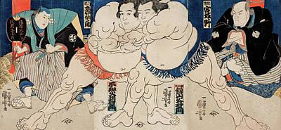 Utagawa Kuniyoshi Drawing - The Sumo Wrestlers by Utagawa Kuniyoshi