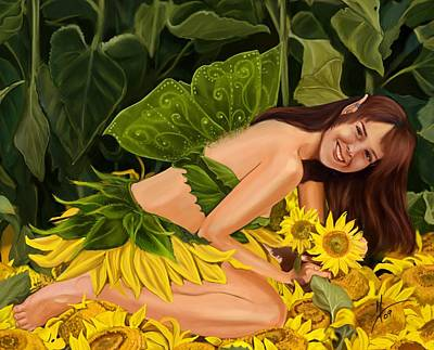 Faeries Painting - The Sunflower Fairy by Maggie Terlecki