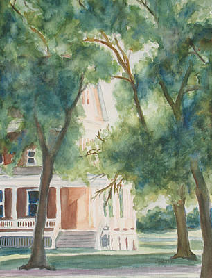 Sunlit Tree Painting - The Sunlit Porch by Jenny Armitage