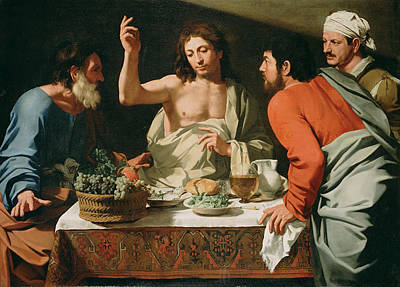 Bartolomeo Cavarozzi Painting - The Supper At Emmaus by Attributed to Bartolomeo Cavarozzi