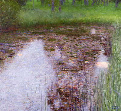 Reeds Painting - The Swamp by Gustav Klimt