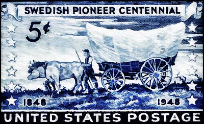Collected Cowboy Painting - The Swedish Pioneer Centennial Stamp by Lanjee Chee