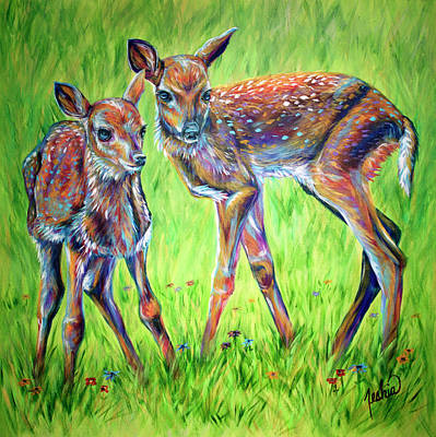 Abstract Deer Painting - The Sweet Life by Teshia Art