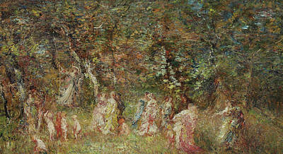 Child Swinging Painting - The Swing by Adolphe Joseph Thomas Monticelli