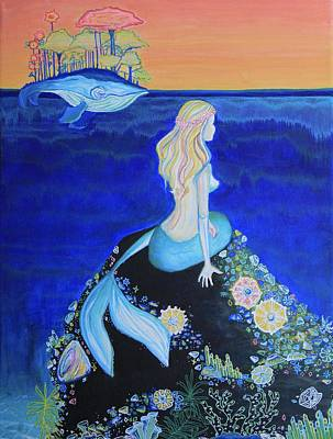 Puerto Rico Painting - Mermaid - The Tale Of Me And The Whale by Alexandra Talese