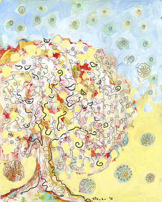 Nature Abstract Drawing - The Talking Tree by Jennifer Lommers