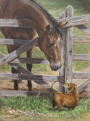 Dachshund Painting - The Tall And Short Of It by Kim Lockman