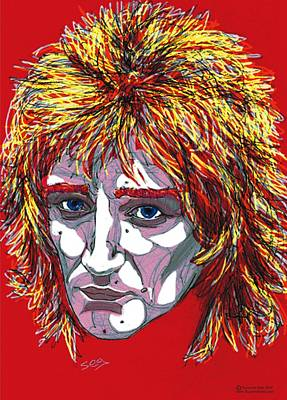 Scottish Drawing - The Tartan Of Rod Stewart by Suzanne Gee