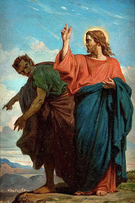 Felix Joseph Barrias Painting - The Temptation Of Christ By The Devil by Felix Joseph Barrias