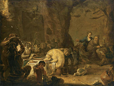 Biblical Scene Painting - The Temptation Of Saint Anthony by Cornelis Saftleven