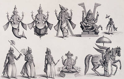 Incarnation Drawing - The Ten Avatars Or Incarnations Of Vishnu by English School