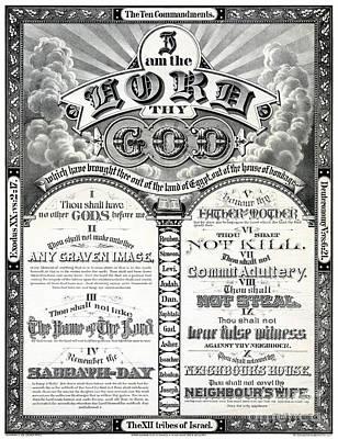 The Ten Commandments 1876 Vintage Poster Restored Print by Carsten Reisinger