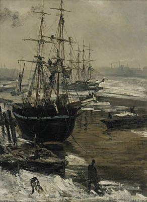 Tonalist Painting - The Thames In Ice by James Abbott McNeill Whistler