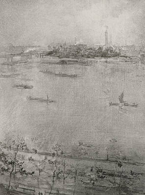Whistler Drawing - The Thames by James Abbott McNeill Whistler