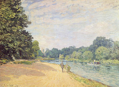 Rural Scenes Painting - The Thames With Hampton Church by Alfred Sisley
