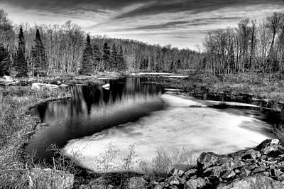Monotone Photograph - The Thawing Of Minnehaha Creek by David Patterson