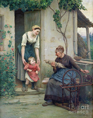 Old Age Painting - The Three Ages by Jules Scalbert
