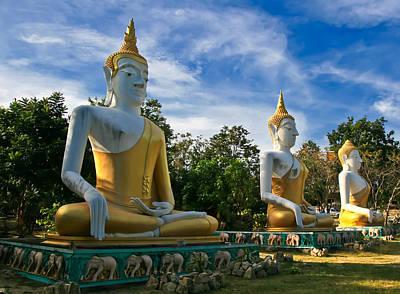 Sitting Digital Art - The Three Buddhas  by Adrian Evans