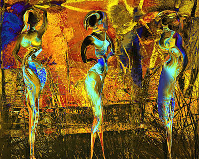 African Woman Painting - The Three Graces by Anne Weirich