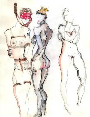 The Three Graces - Female Nudes Original by Carolyn Weltman