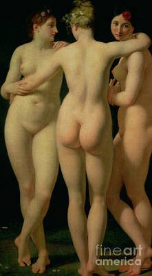Forms Painting - The Three Graces by Jean Baptiste Regnault