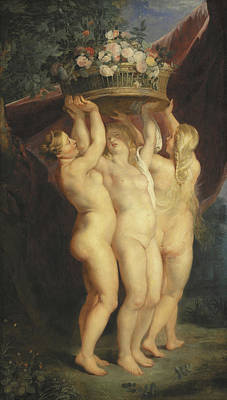 Erotica Painting - The Three Graces by Rubens