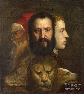 Old Age Painting - The Three Heads Allude To The Three Ages Of Man, Youth, Maturity And Old Age by Celestial Images