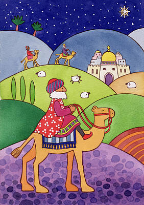 Christmas Greeting Painting - The Three Kings by Cathy Baxter