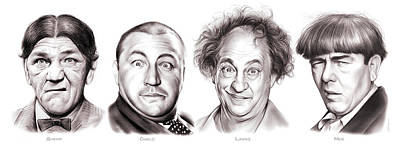 Comedy Drawing - The Three Or Four Stooges by Greg Joens