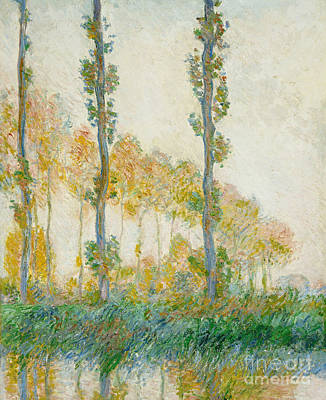 River Bank Painting - The Three Trees by Claude Monet
