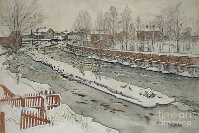 The Timber Chute, Winter Scene Print by Carl Larsson