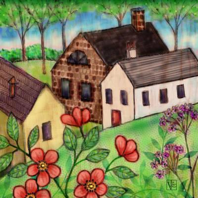 The Tiny Villiage Print by Valerie Drake Lesiak
