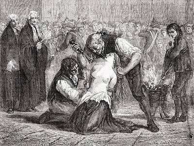 Black Tie Drawing - The Torture Of Madame De La Motte by Vintage Design Pics