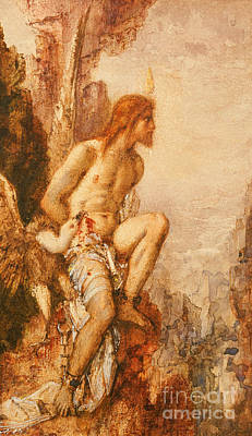 Vulture Painting - The Torture Of Prometheus by Gustave Moreau
