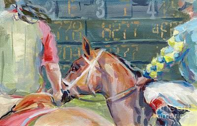 Jockey Painting - The Tote Board by Kimberly Santini