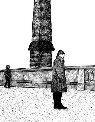 Berlin Drawing - The Tower by Karl Addison