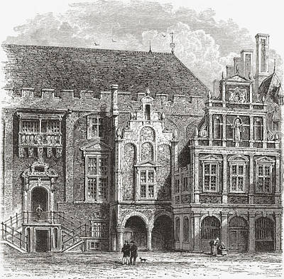 Harlem Drawing - The Town Hall, Grote Markt, Haarlem by Vintage Design Pics