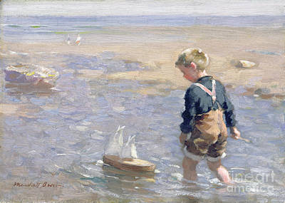 Toy Boat Painting - The Toy Boat by William Marshall Brown