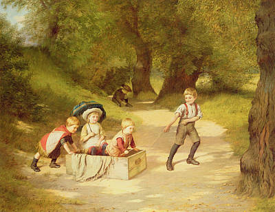 Country Lanes Painting - The Toy Carriage by Harry Brooker