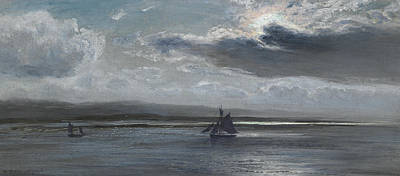 Estuary Painting - The Traeth Mawr, Moonlight by Henry Moore