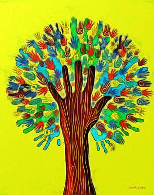 Silhouette Painting - The Tree Of Hands - Pa by Leonardo Digenio