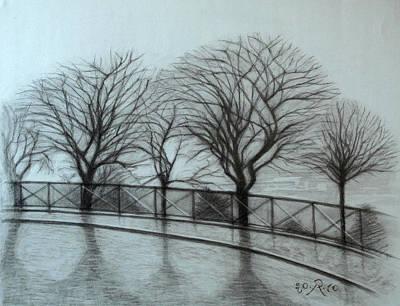Sacre Coeur Drawing - The Trees By Sacre-coeur In Montmartre by Raimonda Jatkeviciute-Kasparaviciene