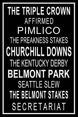 The Triple Crown With White Border Print by Jeffery Finkbeiner